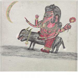 Kashinath Chawan, ohne Titel (Ganesha auf einem Tier), undatiert