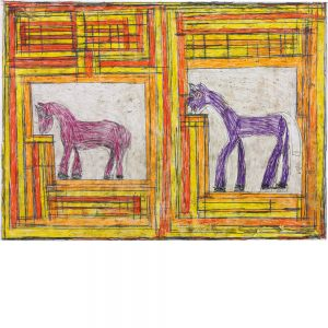 Josef Hofer, Rosa u. lila Pferd, IV, 2005