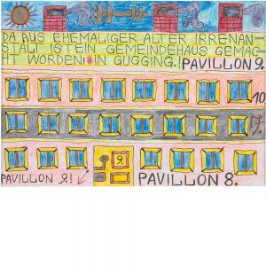 August Walla, Da aus ehemaliger alter Irrenanstalt ist ein Gemeindehaus gemacht worden, In Gugging.!, 1990